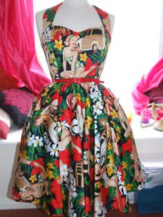 Love this dress Vintage Wardrobe, Vintage Outfits, Vintage Fashion, Vintage Clothing, Vintage Style, Hawaiian Wear, Hawaiian Clothes, Rockabilly Fashion, Rockabilly Style