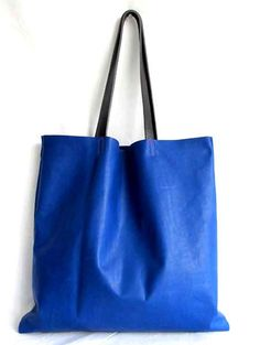Blue leather tote bag  waxed leather bag  bright blue by sord, $189.00