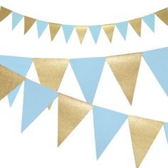 Boy Baby Shower Banner Light Blue and Gold Party by BelowBlink