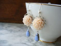 Peach Dahlia and Vintage Periwinkle Blue Teardrop by DLAbeaddesign, $14.00