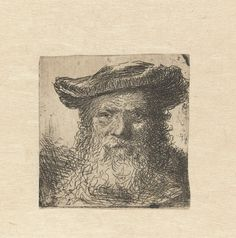 Anonymous | Kop van een oude man met baard en hoed, Anonymous, Ferdinand Bol, 1645 - 1655 |