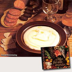 "Sour Cream Porridge With Cured Meat or Sausage / Rømmegrøt Med Grøtpinne - A recipe from ""Mat For Alle Årstider"" (Food For All Seasons) published by Det Beste in 1977 Sour cream porridge is considered one of the most traditional Norwegian dishes of all. http://recipereminiscing.wordpress.com/"