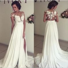 D26 Sexy V Neck Lace Appliques White Chiffon Backless Side Slit Vestido De Novia 2017 Wedding Dresses,Unique V Neck Long Wedding Bridal Gowns sold by Dress On the Way. Shop more products from Dress On the Way on Storenvy, the home of independent small businesses all over the world.