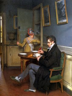 Inside a dining room (detail) by Martin Drolling, 1816