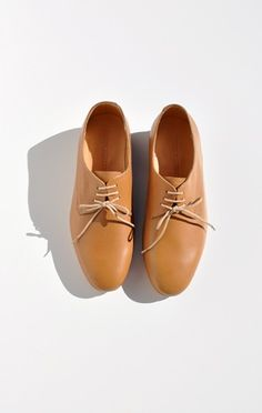 "DIEPPA RESTREPO CALI OXFORD, CAMEL  Classic leather oxfords with nude laces. Leather upper, insole, and sole. 0.75"" stacked wooden heel with rubber plate. Dust bag included. $253 http://www.shopanaise.com/dieppa-restrepo-cali-oxford-camel/#"