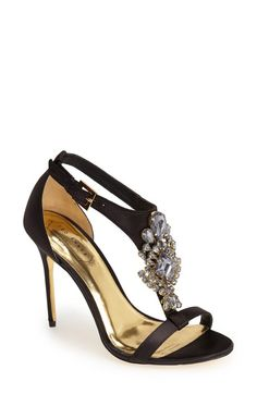 Ted Baker London - 'Naiss' Crystal Embellished T-Strap Sandal (Women) - Black / 5 / M - TorpShop - 1 T Strap Sandals, Strappy Sandals, Shoes Sandals, Rhinestone Shoes, Jeweled Sandals, All About Shoes, Pretty Shoes, Ted Baker, Stiletto Heels