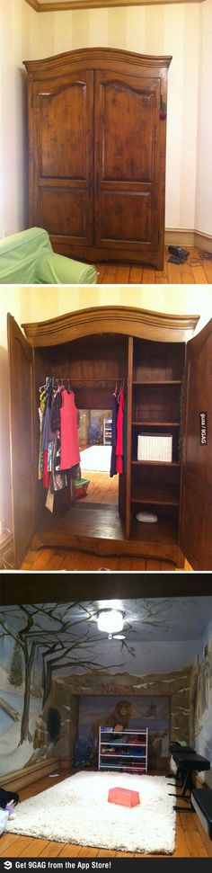 Through the wardrobe! could be cool to do this with an extra bedroom. :D