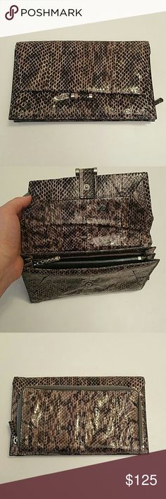 Selling this Gray Watersnake clutch on Poshmark! My username is: fancyballer. #shopmycloset #poshmark #fashion #shopping #style #forsale #Calvin Klein #Handbags