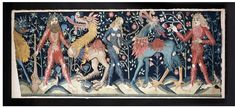 Wildmen, wildwomen and mythical beasts, as shown in this tapestry, imply freedom, energy, natural instincts and pleasures. Noblemen and merchants liked to see this theme represented in their houses and castles on tiles, embroideries and tapestries and even on some utensils