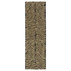 Hand-tufted Lawrence Zebra Black Wool Runner Rug (2'3 x 7'6)