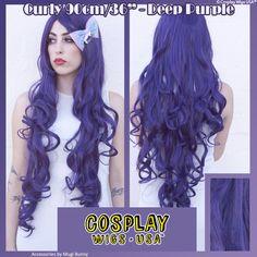 "Cosplay Wigs USA™ <br> Curly 90cm/36"" - Purple Black"