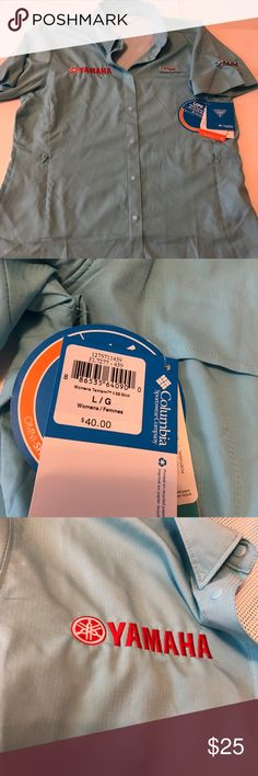 Columbia PFG Yamaha logo button down Women's L NWT This is an Original Columbia PFG shirt Women's Large NWT. Yamaha embroidered logo. UPF 40 protection Great  button down ready for the spring and Summer   ..no rips tears stains. .. this could be a collectible later on Columbia Tops Button Down Shirts