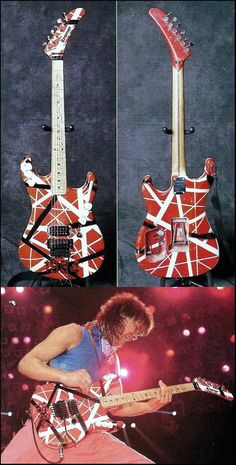 Eddie VanHalen's 1984 Kramer. Custom Electric Guitars, Custom Guitars, Van Halen 5150, Famous Guitars, Unique Guitars, Guitar Painting, Eddie Van Halen, Steve Vai, Indie Music