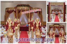 #Wedding #Fiber #Golden #Carved #Mandap #Set #Dstexports