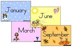 Print Months Of The Year | Months of the Year - Seasons - Printable Picture Theme Flash Cards ...