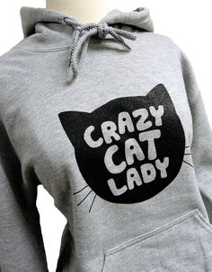 Crazy Cat Lady Hoodie - CAT Silhouette Grey Sweatshirt - Unisex Sizes S, M, L, XL. $28.00, via Etsy.