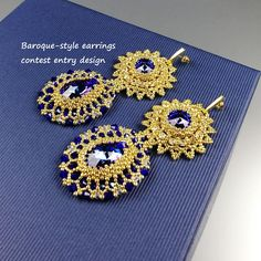 Luxury Gold Seed bead Swarovski Crystal earrings, Sapphire blue crystals, 24K Gold covered studs, Large BAROQUE Beadwoven jewelry, Beadwork