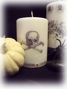 DIY - Stamping on Candles ~ Tutorial (Source : http://cmoh.blogspot.fr/2011/10/stamping-on-candles-tutorial.html)