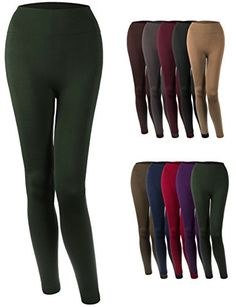 c0c34583dceb0 KOOLDO Womens High Waisted Super Soft Solid Brushed Fleece LeggingsONE  SIZEDARK_GREEN >>> Check out this great product. (This is an affiliate link)