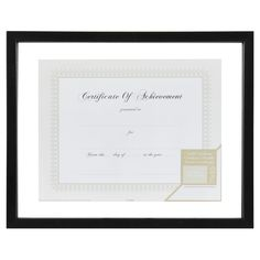 """Gallery Solutions 8.5""""x11"""" Certificate Frame - Black"""