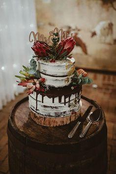 rustic fall drip wedding cake