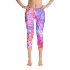 Custom Fashion Capri Leggings for Women, Pastel Pink and Red with a Blue Hydrangea Landscape Women's Fitness Workout Leggings, Yoga Leggings Capri Leggings, Crop Top And Leggings, Floral Leggings, Workout Leggings, Women's Leggings, Colorful Leggings, Cheap Leggings, Leggings Store, Gothic Leggings