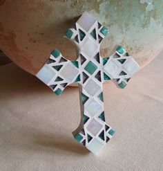Decorative cross gift for easter pink mosaic cross godchild gift godparent gift christening gift by hamptonmosaics negle