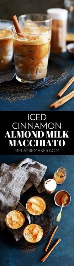 My four ingredient Iced Cinnamon Almond Milk Macchiato takes less than five minutes to create - so much faster than a trip to see your favorite barista! Espresso, almond milk, cinnamon and caramel combine to create this amazing drink that tastes like you're sipping a cinnamon roll. #coffee #espresso #almondmilk #cinnamon #caramel #starbucks #copycat