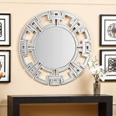 Abbyson Living Pierre Silver Round Wall Mirror   Overstock.com Shopping - Great Deals on Abbyson Living Mirrors