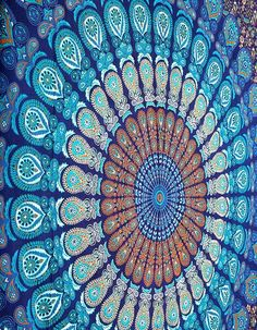 Blue Dorm Mandala Tapestry wall hanging, bed cover, etc. Indian screen printed, 100% cotton.  Hand wash.  60 x 90 inches for $21.99. Could be used for a kantha quilt top.