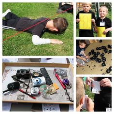 """games: lazer beam maze, match footprint to kid, step on balloon bombs to """"diffuse"""" them"""