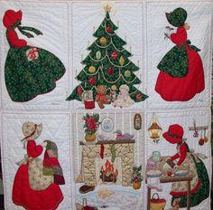 Bonnet Girls Christmas Quilt made from the Christmas patterns by Helen R Scott…