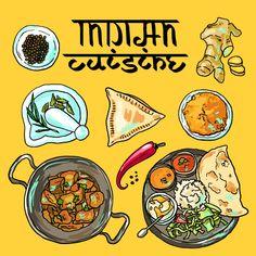 Vector indian illustration cuisine pictures in total) Indian Food Menu, Indian Food Recipes, Italian Recipes, Food Graphic Design, Menu Design, Logo Design, Design Ideas, Indian Illustration, Car Illustration