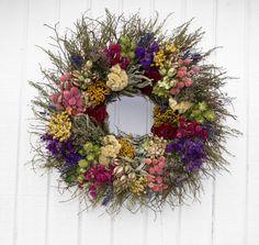 Twig Wreath Dried Flower Wreath Large Dried by CreationsByCarol13