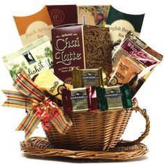 Tea Basket - to DIY: assorted teas (chai, english breakfast etc, herbal teas, tea pot, tea strainer, cup and saucer, biscotti, cookies)