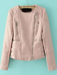 Pink Long Sleeve Zipper Crop PU Leather Jacket pictures