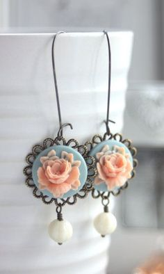 Peach Pink Aqua Blue Rose Flower Earrings