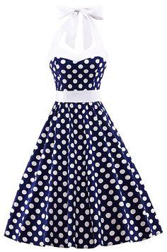 V fashion Women's Vintage 1950s Halter Neck Polka Dot Audrey Hepburn Dress 50s Retro Swing Dresses With Belt