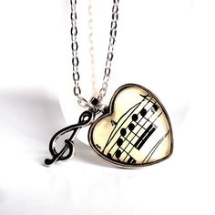 Heart Music Necklace Sheet Music Art Musical by ginnysboutique, $18.75