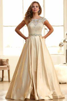 2015 Prom Dresses Bateau Ball Gown Lace Bodice With Long Taffeta Skirt Sweep Train