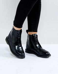 Dr Martens Kensington Delphine Brogue Black Lace Up Ankle Boots