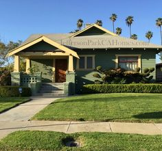 Jefferson Park California Craftsman Bungalow - green with yellow trim Craftsman Porch, Jefferson Park, Bungalow Homes, Craftsman Bungalows, Los Angeles Homes, Park Homes, Home Photo, Curb Appeal, Gazebo