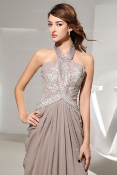 Halter chiffon dress with beads and appliques on top