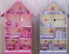 Casita De Muñecas, Barbie, Pintada Y Decorada Con Muebles - $ 1.725,00 en MercadoLibre