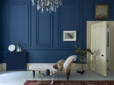 Farrow And Tanzabend Schwarz Blau Farrow And Tanzabend Blau Wohnzimmerwand Dunkel Farrow And … – Dekor – Kombinieren – Mode Pitch Blue Farrow And Ball, Farrow And Ball Drawing Room Blue, Farrow Ball, Blue Lounge, Home Design, Interior Design, Blue Rooms, Blue Bedroom, Bedroom Wall