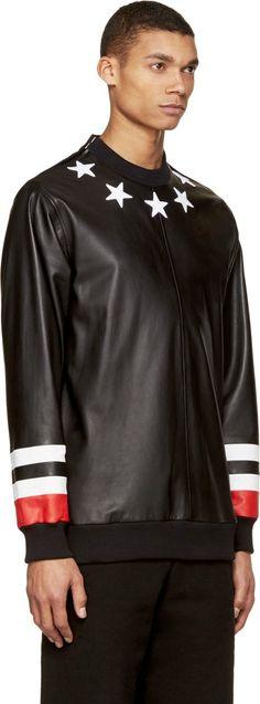Givenchy Black Leather Stars & Stripes Shirt