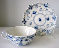 Waterford Wedgwood cups & saucers | Royal Copenhagen Blue Fluted Full Lace Tea Cups Saucers 1130 | eBay