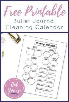 Sick & tired of living in a messy house, but hate the thought of cleaning? Use these 6 hacks to discover ways to clean every room in your house FAST. Free Printable Calendar, Printable Planner, Free Printables, Cleaning Calendar, Bullet Journal Printables, Bullet Journal Spread, Bullet Journals, Bullet Journal Inspiration, Journal Ideas