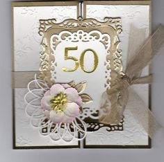 Anniversary Card by JD from PAUSA - Cards and Paper Crafts at Splitcoaststampers 50th Anniversary Cards, 50th Birthday Cards, Golden Anniversary, Anniversary Invitations, Handmade Birthday Cards, Wedding Invitation Cards, Wedding Cards, Light Switches, Fun Cards