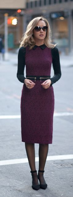 The Classy Cubicle: Lace {asos, lace sheath pencil dress, burgundy, office corporate work style, fashion}